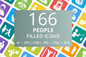166 People Filled Round Corner Icons