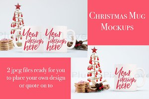 2 Christmas styled stock mug mock up