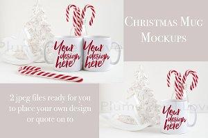 2 Christmas styled stock mug mockups