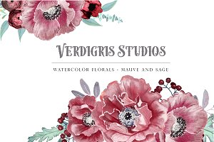 Watercolor Florals - Mauve and Sage