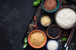 Various types of rice in bowls