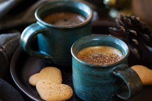 Cups of coffee with Christmas mood
