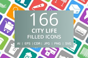 166 City Life Filled Icons