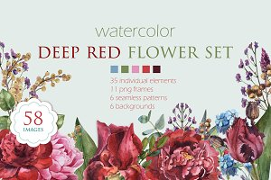Watercolor deep red set