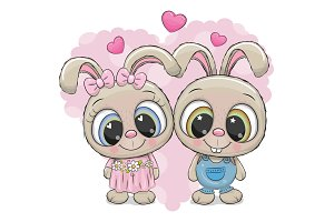 Rabbits boy and girl on a heart