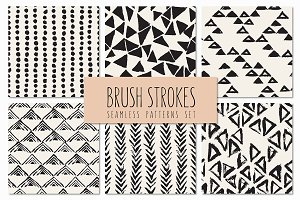 Brush Strokes. Seamless Patterns v.4