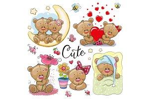 Set of Cartoon Teddy Bear on a white