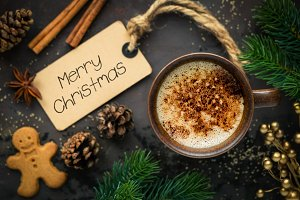 Christmas greeting with coffee