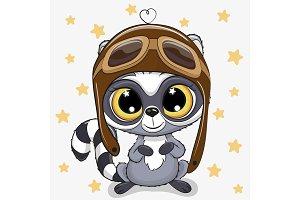 Cute cartoon Raccoon in a pilot hat
