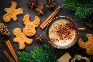 Christmas concept coffee and cookies