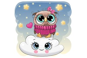 Cute Owl a on the Cloud