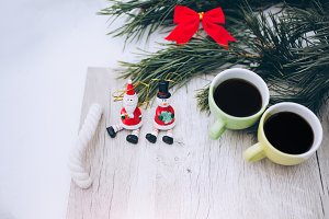 Two coffee cups Christmas decoration