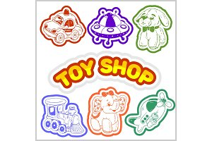 Baby toy set. Cute object for small