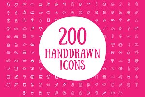 200 Handrawn Doodle Line Icons Set