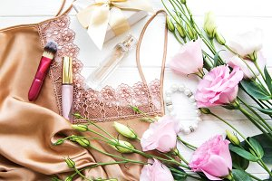 Lingerie with flowers and gift box