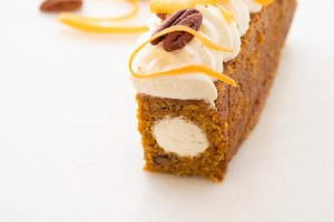 Carrot cake pie, sprinkled with nuts
