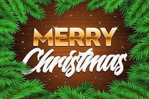 Merry Christmas banner tree branches