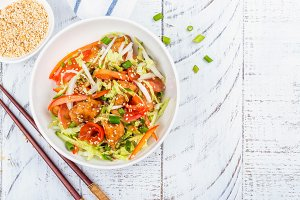 Salmon and vegetables asian salad