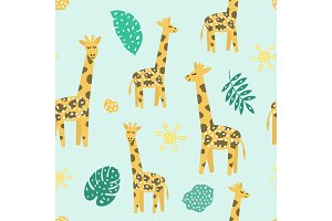 Childish seamless pattern with cute