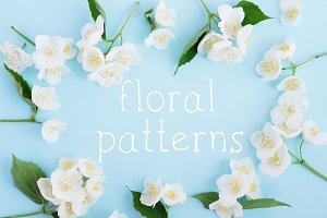 Flower patterns flat lay.
