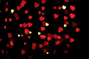 Defocused bokeh lights heart love