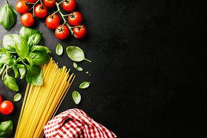 Italian healthy food background with