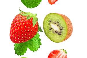 Falling strawberries and kiwi isolat