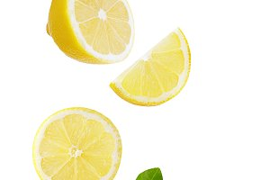 Falling lemon isolated on white back