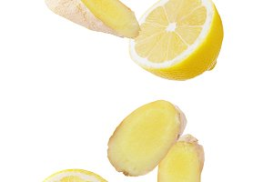 Falling lemon and ginger isolated on