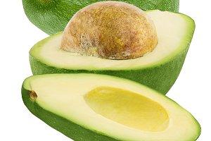 Falling avocado isolated on white ba