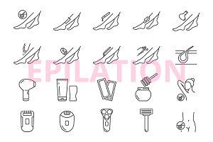 Epilation icons set