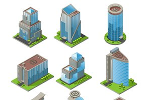 Isometric Urban Office Buildings Set