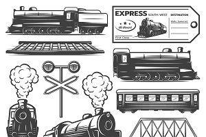 Vintage Locomotive Elements Set