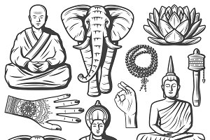 Vintage Buddhism Religion Icons Set