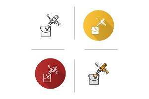 Paint mixer in bucket icon