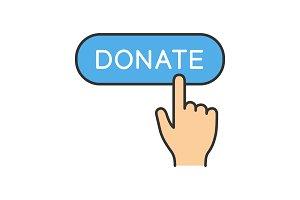 Donate button click color icon