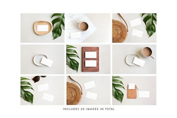 Product Mockups: Moyo Studio - Tan Business Card Photo Mockups