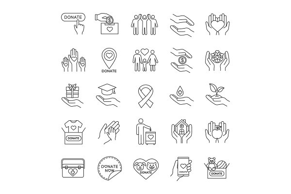 Donation linear icons set