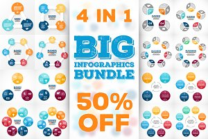24 circle infographics bundle