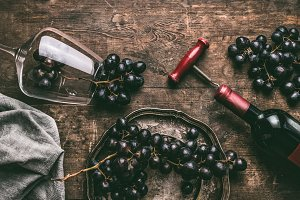 Red wine vintage still life