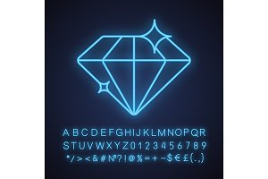Diamond neon light icon