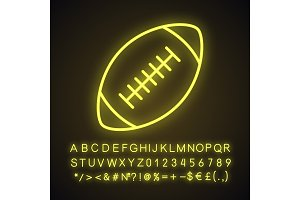 Rugby ball neon light icon