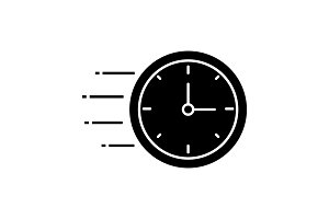 Flying clock glyph icon