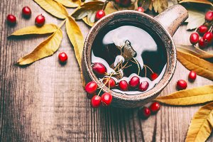 Mug of autumn hawthorn tea