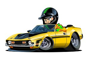 Cartoon retro sport car with driver