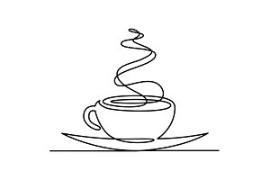 Continuous line drawing of cup of