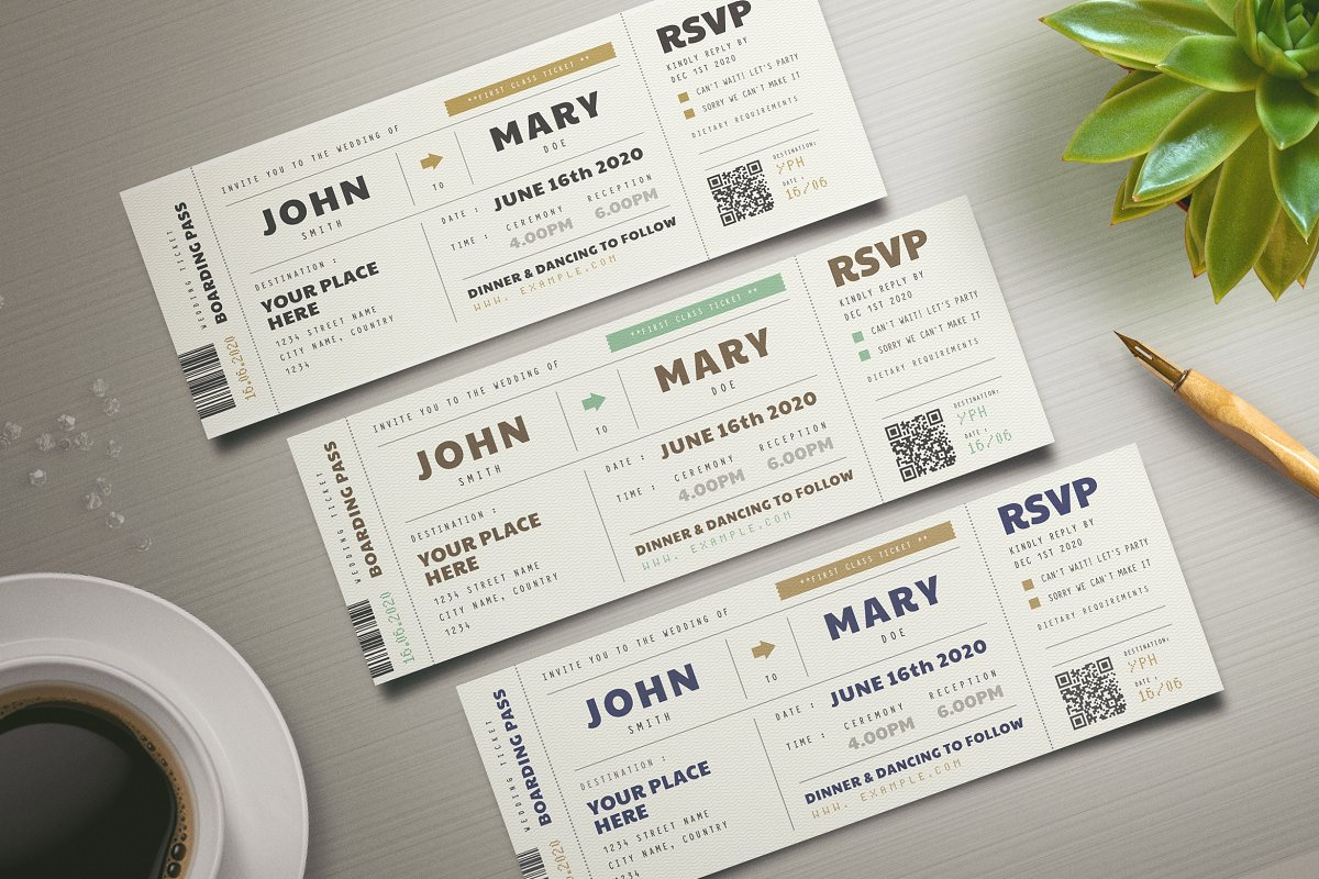 Boarding Pass Wedding Invitations.Boarding Pass Wedding Invitation