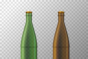 Brown and green beer bottles