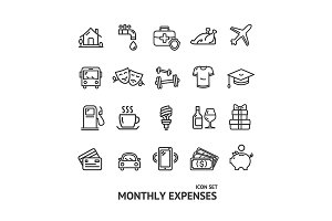 Monthly Expenses Thin Line Icon Set.