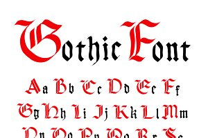 Set of ancient gothic letters